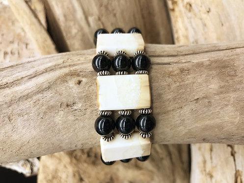 Fossil Walrus Ivory, Black Agate & Sterling Silver Bracelet