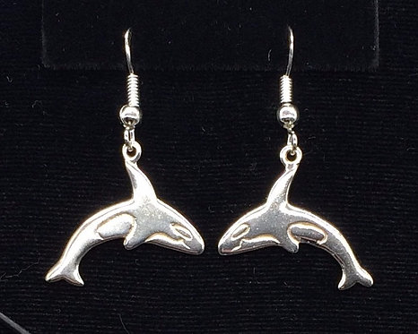 Sterling Silver Orca Whale Earrings
