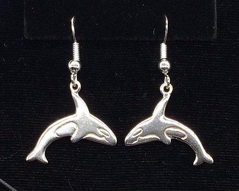 Sterling Silver Orca Whale Earrings