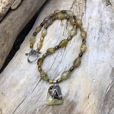 Septarian Nodule, Yellow Opal, Tiger Eye, Sterling Silver Necklace