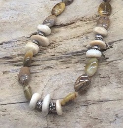 Fossil Walrus Ivory, Picture Jasper & Sterling Silver Necklace