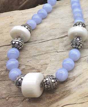 Fossil Walrus Ivory, Blue Lace Agate & Sterling Silver Necklace