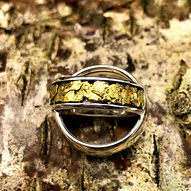 Sz 5.5 Natural Gold Nugget & Sterling Silver Ring