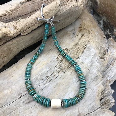 Fossil Walrus Ivory, Chinese Turquoise & Sterling Silver Necklace