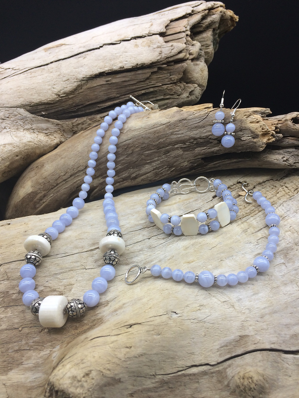 Blue Lace Agate & Fossil Walrus Ivory Jewelry