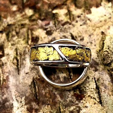 Sz 9.5 Natural Gold Nugget & Sterling Silver Ring