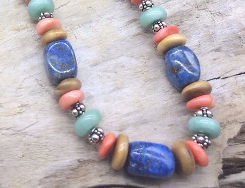 Fossil Walrus Ivory, Multi Stone & Sterling Silver Necklace