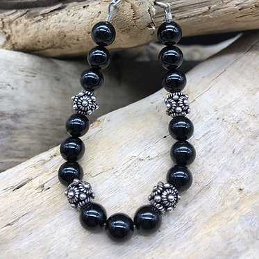 Black Agate & Sterling Silver Bracelet