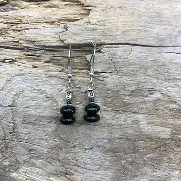Green Goldstone & Sterling Silver Earrings