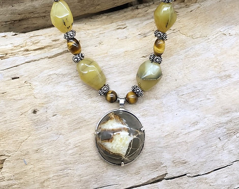 Septarian Nodule, Yellow Opal & Tiger Eye Necklace