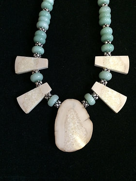 Fossil Walrus Ivory, Aventurine & Sterling Silver Necklace