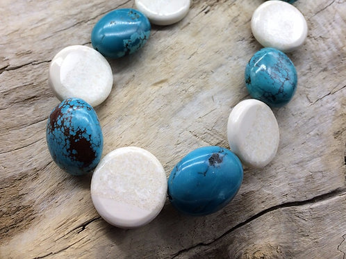 Fossil Walrus Ivory, Turquoise Nuggets & Sterling Silver Necklace
