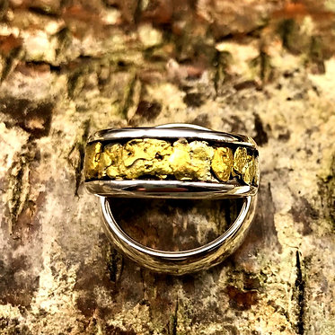 Sz 7.5 Natural Gold Nugget & Sterling Silver Ring