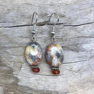 Crazy Agate, Carnelian & Sterling Silver Earrings