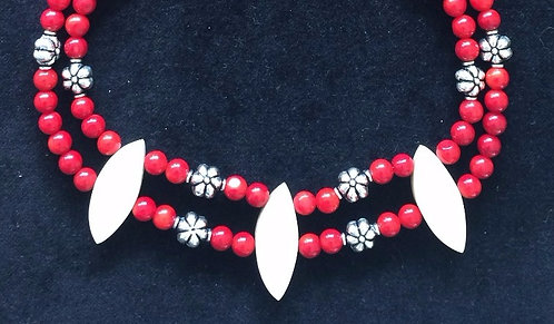 Fossil Walrus Ivory, Red Coral & Sterling Silver Necklace