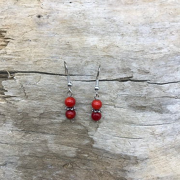 Dyed Red Coral & Sterling Silver Earrings