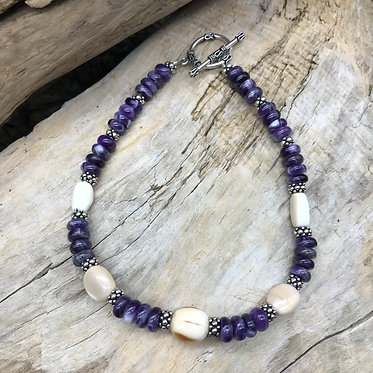Fossil Walrus Ivory, Amethyst & Sterling Silver Necklace
