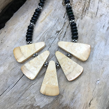 Fossil Walrus Ivory, Green Goldstone & Sterling Silver Necklace