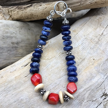Fossil Walrus Ivory, Sodalite, Dyes Red Coral & Sterling Silver Bracelet