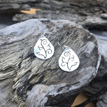 Sterling Silver Fiddle Head Earrings