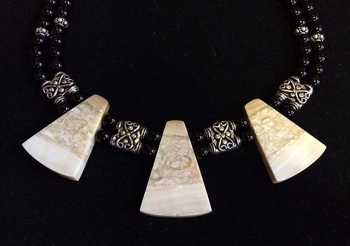 Fossil Walrus Ivory, Black Agate & Sterling Silver Necklace