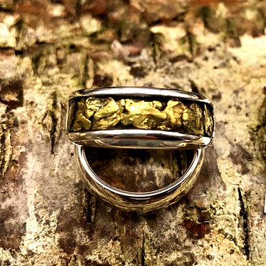 Sz 8.5 Natural Gold Nugget & Sterling Silver Ring