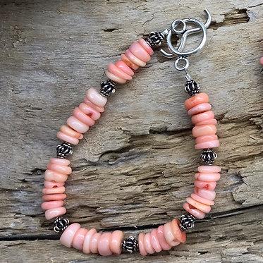 Pink Coral & Sterling Silver Bracelet