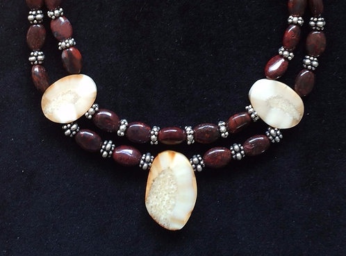 Fossil Walrus Ivory, Red Quartz & Sterling Silver Necklace