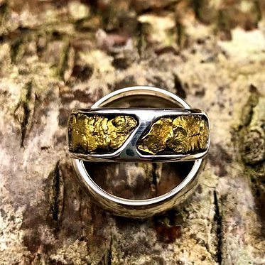 Sz 6.5 Natural Gold Nugget & Sterling Silver Ring