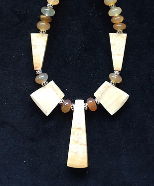 Fossil Walrus Ivory, Chalcedony & Sterling Silver Necklace