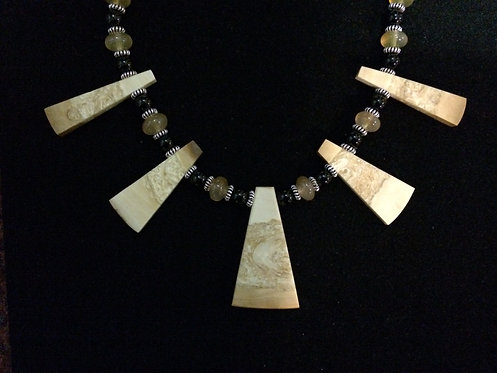 Fossil Walrus Ivory, Chalcedony, Black Agate Necklace, Sterling Silver
