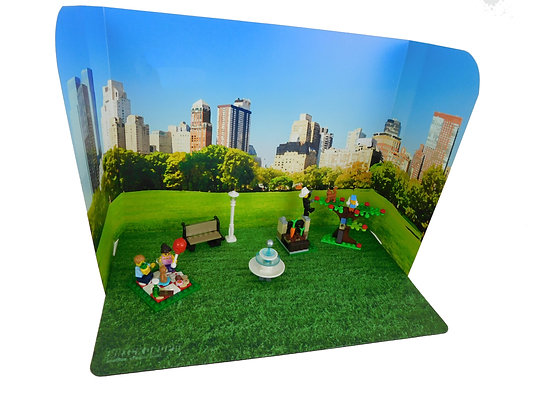 Brickdrops City Skyline/Ocean Backdrop w/ 2 Coordinating Play Mats