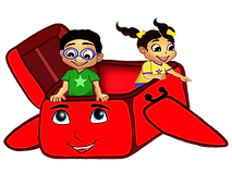 Ace and Grace smiling in suitcase illustration