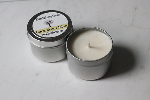 Soy Candle- Travel Candle, Tin Container,Cucumber Melon Soy Candle