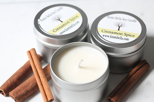 Cinnamon Spice Soy Wax Tin Container Travel Candle Wedding Favors