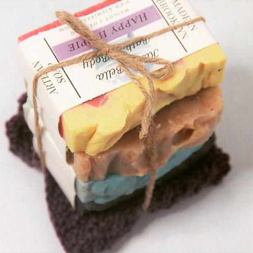 Handmade Soap with Organic Cotton Washcloth