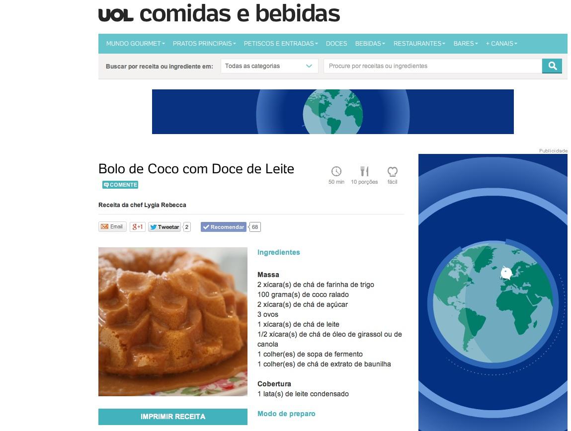 Receita Bolo de Coco - UOL