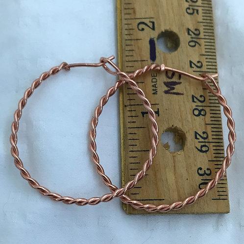 1 1/2 copper twisted hoop earring