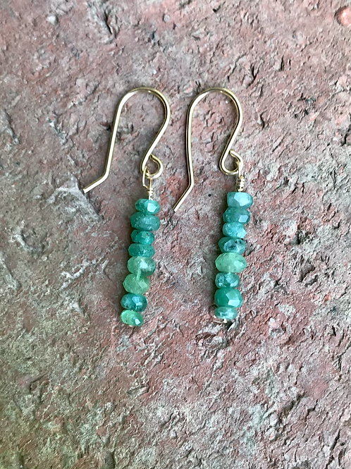 Natural emeralds on gold filled ear wires