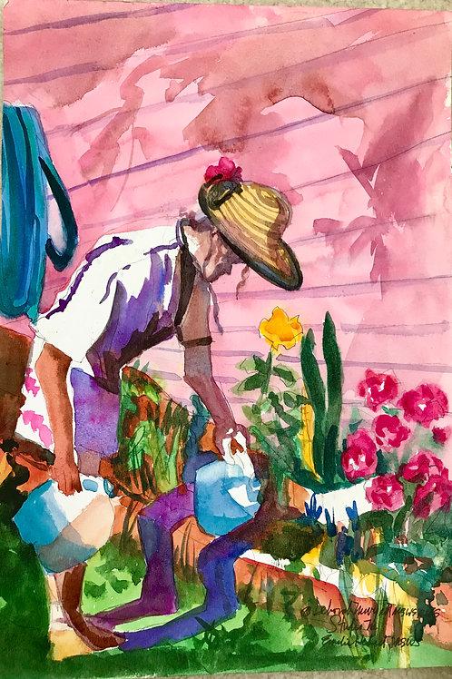 Emelie in the garden 15x10.5