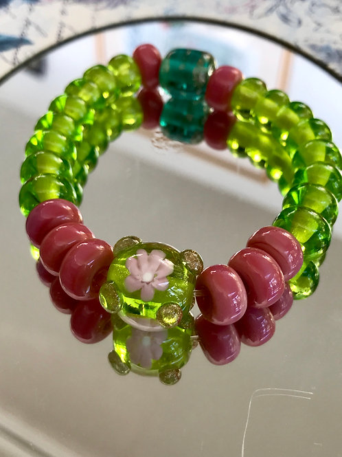 Mystic pink and green bracelet