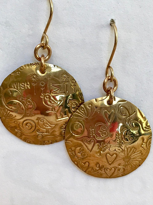 Brass disc earrings