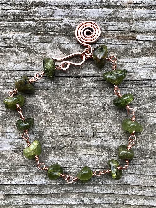 Peridot and copper bracelet