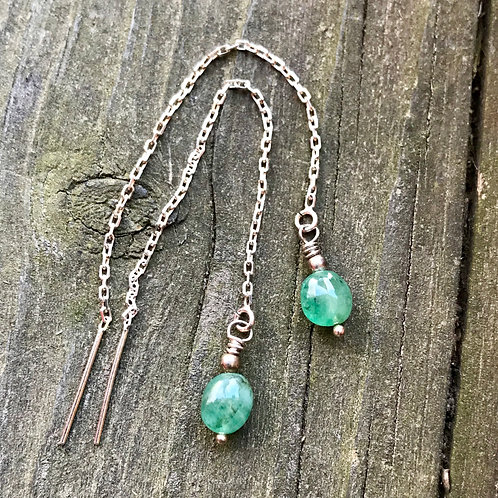 Emerald sterling silver thread earrings