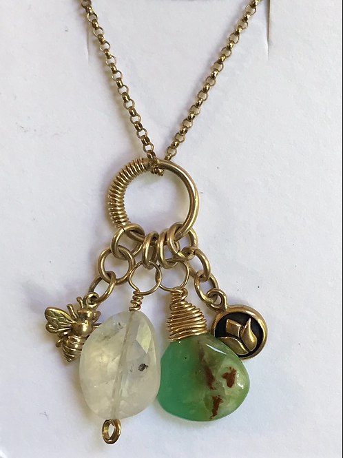 Nature collection charm necklace, gold filled