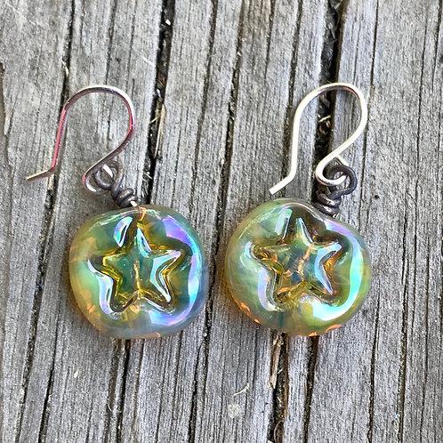 Silver glass star earrings
