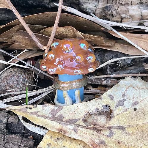 Opalino blue mushroom with carnelian and silver glass dot top