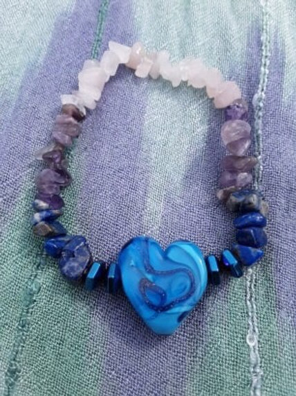 Blue wave heart with lapis, amethyst and rose quartz