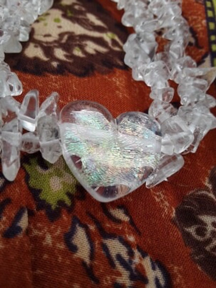Dichroic heart with crystal quartz nuggets