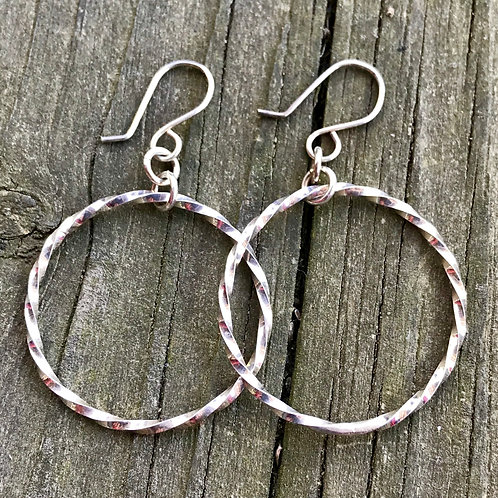 Twisted sterling silver 1 1/4 inch